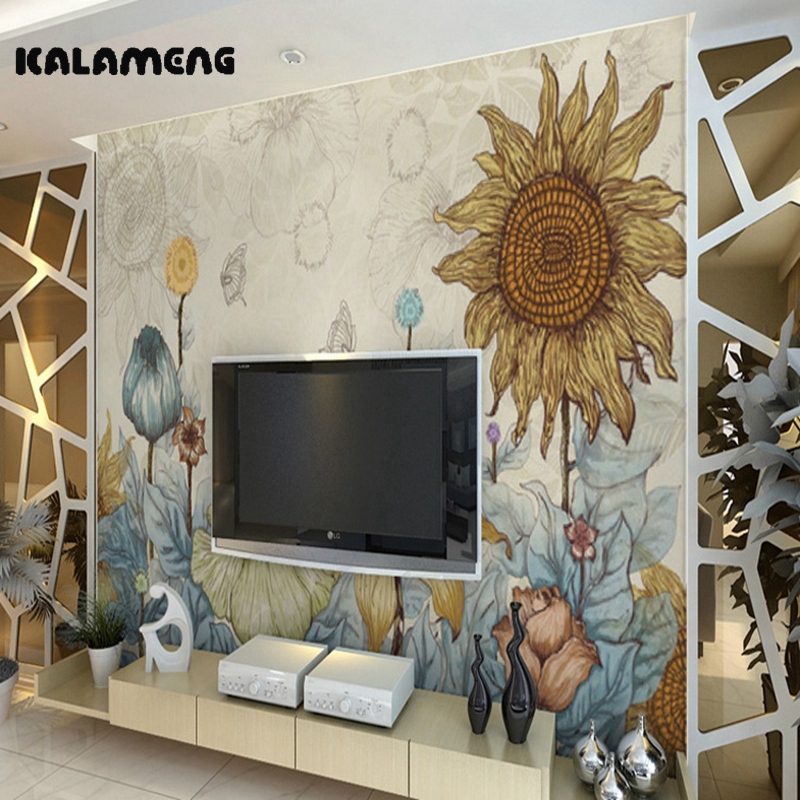 Modern Living Room Murals online get cheap wallpaper designs living room painted -aliexpress