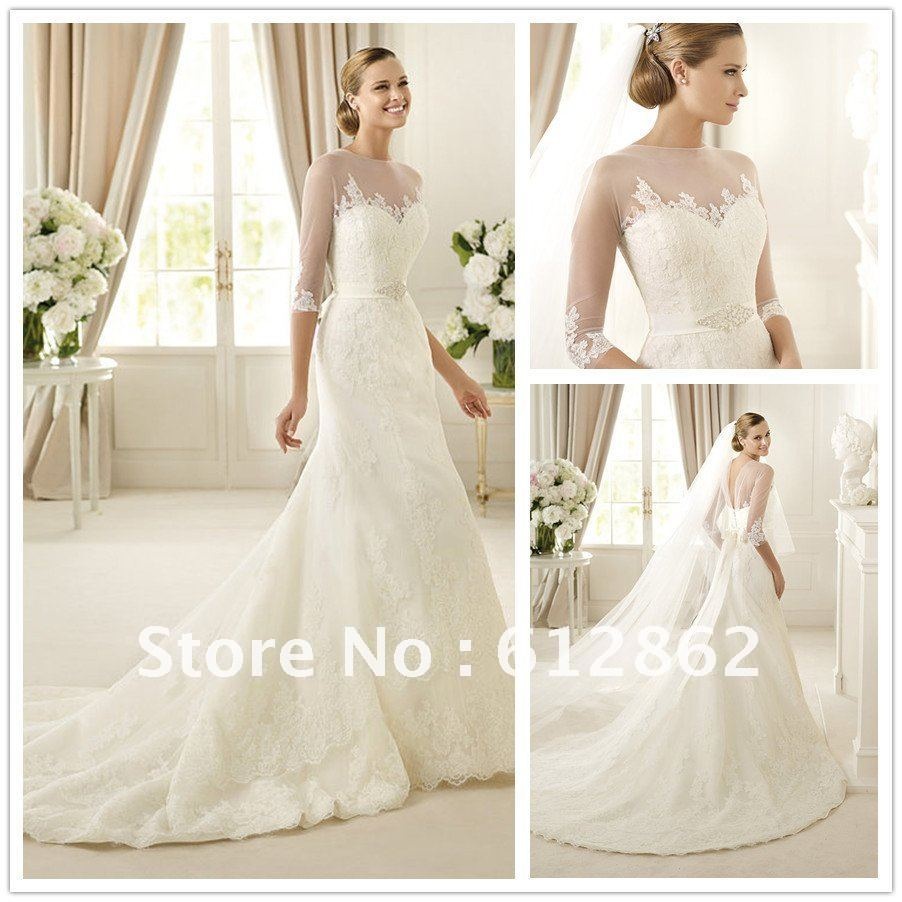 wedding dresses with lace sleeves and long train sleeved wedding dress Aliexpress Geous Long Train Mermaid Lace 3 4 Sleeve Wedding Dress From Reliable Hair Accessories Uk