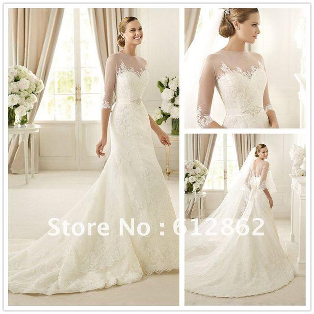 Gorgeous Long Train Mermaid Lace 3 4 Sleeve Wedding Dress In Wedding