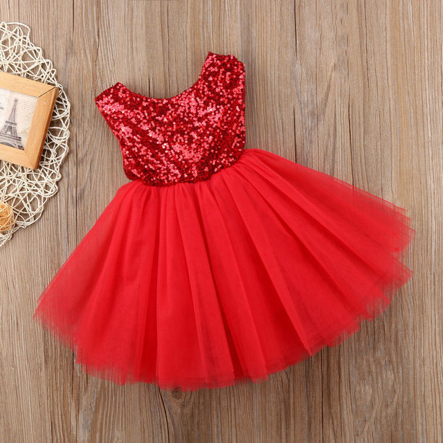 3 צבעים זמין פאייטים שרוולים ללא משענת כדור שמלת תינוקת שמלת ראשון יום הולדת ילדה מסיבת שושבינה טוטו תינוק שמלה