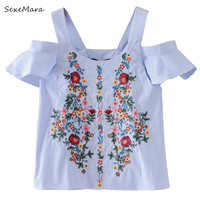 Off Shouder Floral Embroidery Striped Shirts Women S Blouses Sweet Ruffles Short Sleeve Blouse Ladies Casual