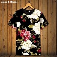 Beautiful bright flowers pattern 3D printing fashion short sleeve t shirt Summer 2018 New smooth elasticity quality t shirt men