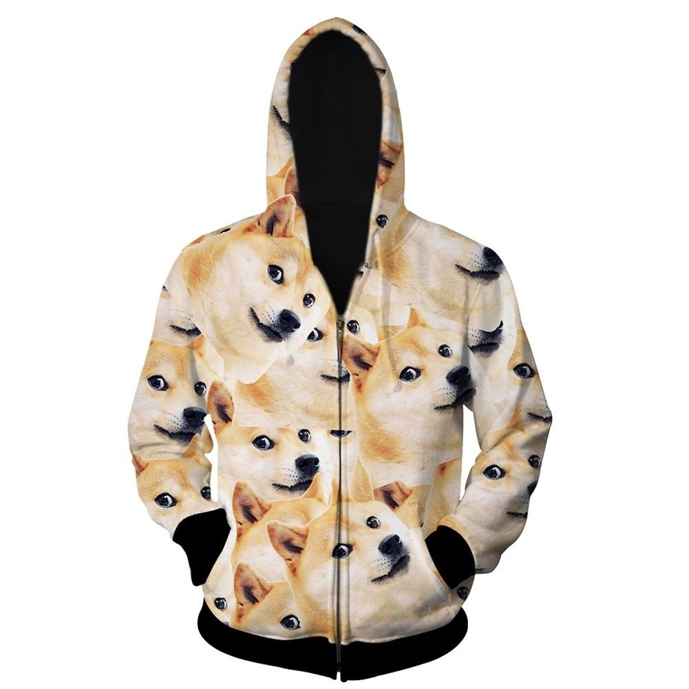 2018 Fashion Clothing Funny 3D Sweatshirts Hoodies Men Hip Hop Pullover Print Animal Dog Long Sleeve Zipper Sweat Homme