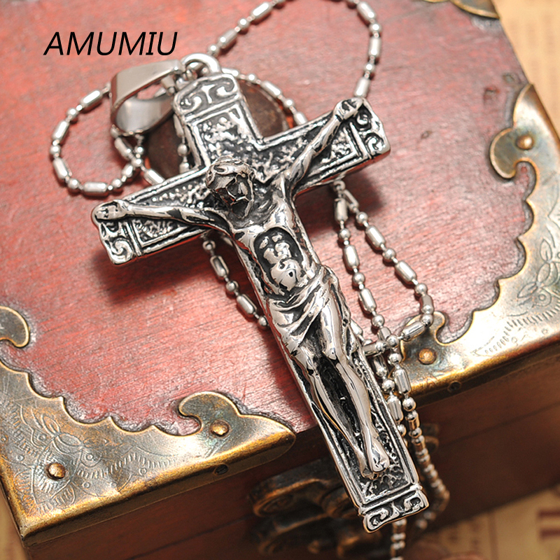 AMUMIU jesus cross with chains Stainless steel mens jewelry crucifix - Fashion Jewelry - Photo 5