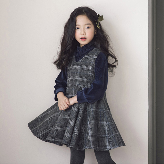 c954bceff 2018 New Girls Suits Velvet Shirts and Vest Dress Kids Dress Autumn and Winter  Children Two