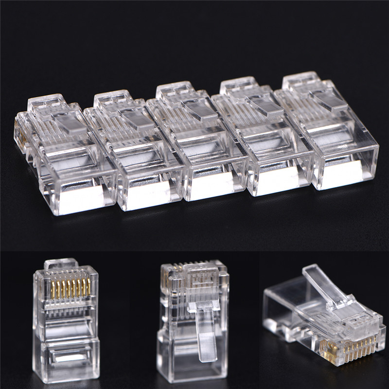 50 PCS Good Sale RJ45 CAT5 Crystal Network Modular Connector Plug 8P8C For Computers