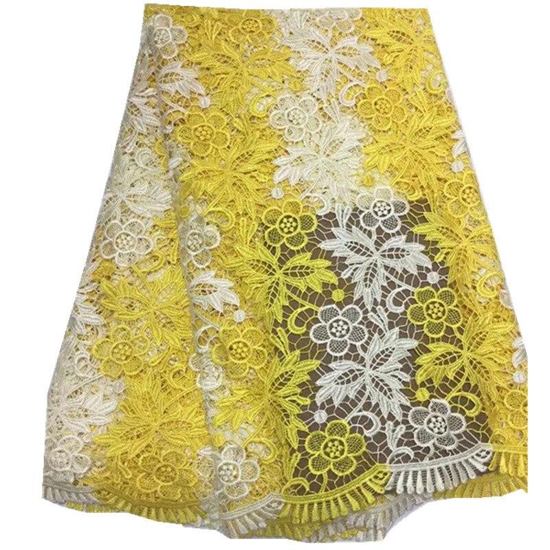 בד תחרה אפריקאי לנשים שמלות תחרה רקום רשת צהוב הודו כבל אפריקאי תחרה בדי כותנה pl-453 Qualit גבוה