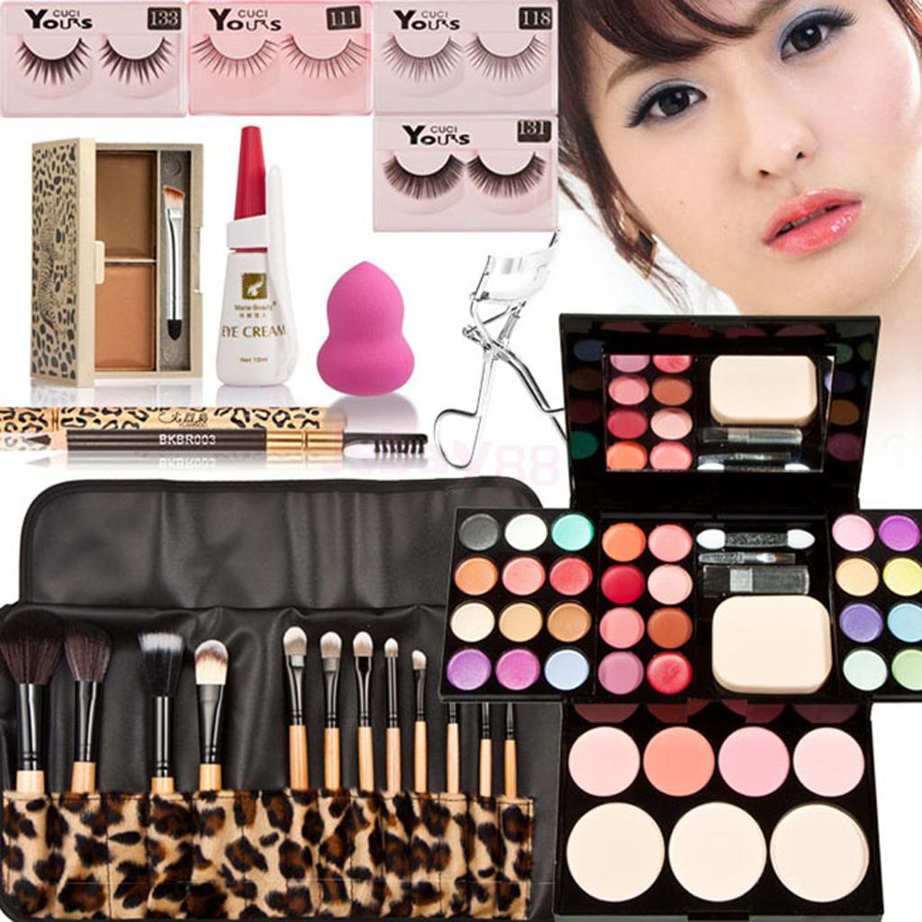 Makeup Palette Cosmetics Kit Eyebrow Brushes Powder Eyelashes Glue Curler Sponge 8pcs makeup brushes cosmetics eyeshadow eyeliner brush kit 15 color concealer facial care camouflage makeup palette sponge puff