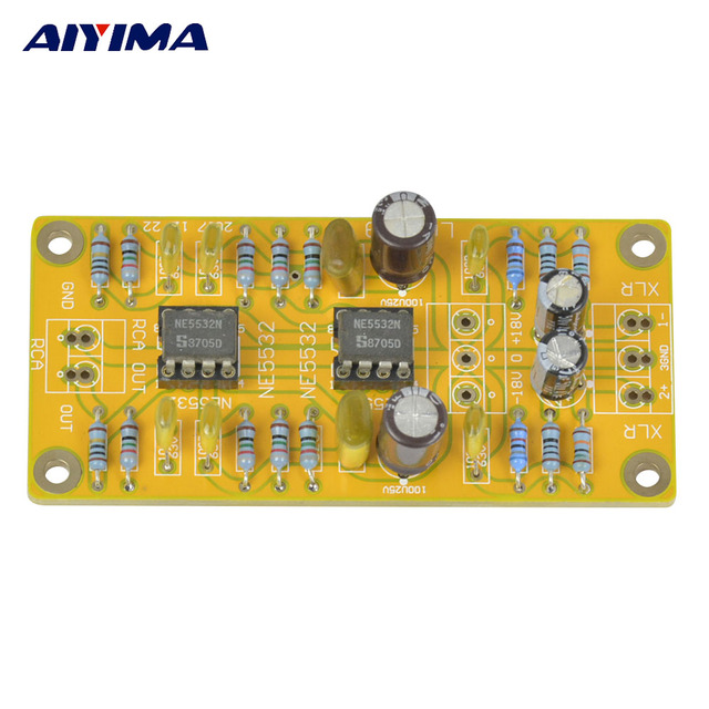 aiyima updated balanced xlr to unbalanced rca preamplifier headphone dual  op amp circuit board low distortion