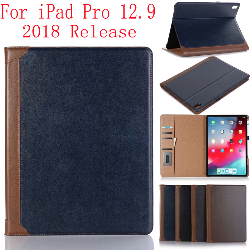 For IPad Pro 12.9 Case 2018 Release Magnetic Smart Flip Leather Book Cover Card Packet Kickstand Flip Cover Sleep Wake 12.9inch
