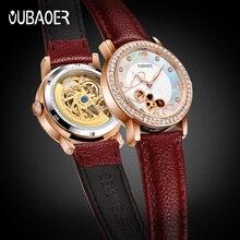 OUBAOER האוטומטי מכאני שעוני נשים עור אמיתי יוקרה מותג עליון זוהר אדום פשוט אופנה שעון שלד שעונים