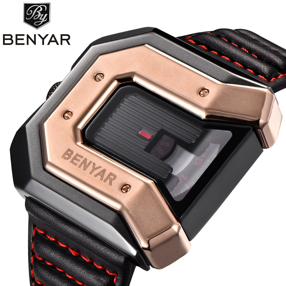2018 Luxury New Style BENYAR Fashion Large Face Black Steel Leather Band Sport Military Quartz Wrist Watch Men Relogio Masculino black color free tempered glass lcd display touch screen digitizer home button front camera assembly for iphone 6s 4 7 inch