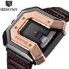 2018 Luxury New Style BENYAR Fashion Large Face Black Steel Leather Band Sport Military Quartz Wrist