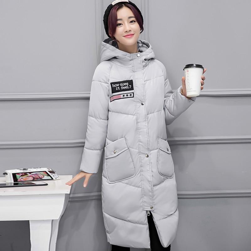 Kadın Giyim'ten Parkalar'de Kış Ceket Kadınlar Casual Uzun Sıcak Aşağı pamuk yastıklı Kapşonlu Parkas Ceket Ceket Büyük Cep Dış Giyim Ceket M XXL'da  Grup 1