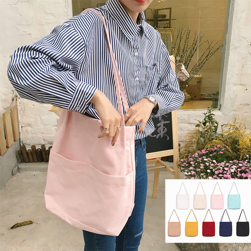 YILE Cotton Canvas Solid Color Shoulder Bag Shopping Tote Outer Pocket 9 Colors WJ7201