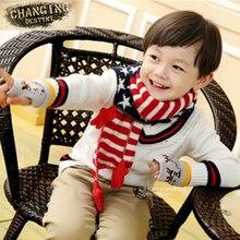 3 цвета, зимние шарфы, детский жаккардовый шарф в полоску с пентаграммой, вязаный теплый шарф для детей 3-7 лет