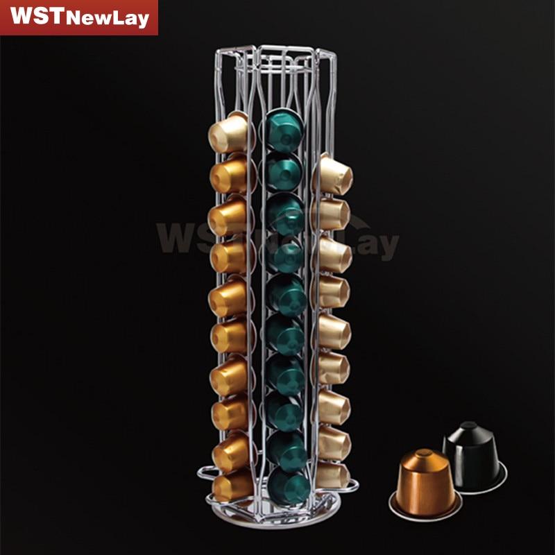 60 capsules nespresso coffee pod holder revolving rotating. Black Bedroom Furniture Sets. Home Design Ideas