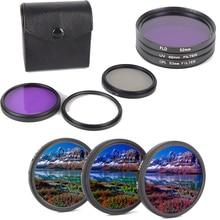 소니 펜탁스 렌즈 용 캐논 니콘 용 3 개/대 카메라 렌즈 49/52/55/58/62/67/72/77mm cpl + fld + uv 렌즈 필터 세트