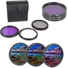 3 unids/set de lentes de cámara 49/52/55/58/62/67/72/77MM CPL + FLD + Filtro de lente UV con bolsa de transporte para Canon Nikon para lente Sony Pentax