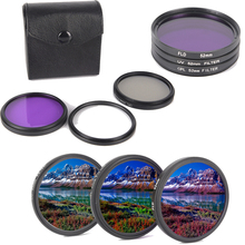 3pcs/set Camera Lens 49/52/55/58/62/67/72/77MM CPL+FLD+UV Lens Filter Set with Carry bag for Cannon Nikon For Sony Pentax Lens
