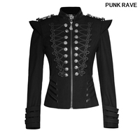 Steampunk Autumn Women Harajuku Army Coat Gothic Rock Autumn Plate Buckles Military Uniform Short Jackets PUNK RAVE Y 722