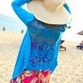 Крюк Цветок Трикотажные Верхняя Одежда Купальный Костюм Общая Сексуальная купальник бикини блузка выдолбленные вне Пляж Солнцезащитный Крем Одежда