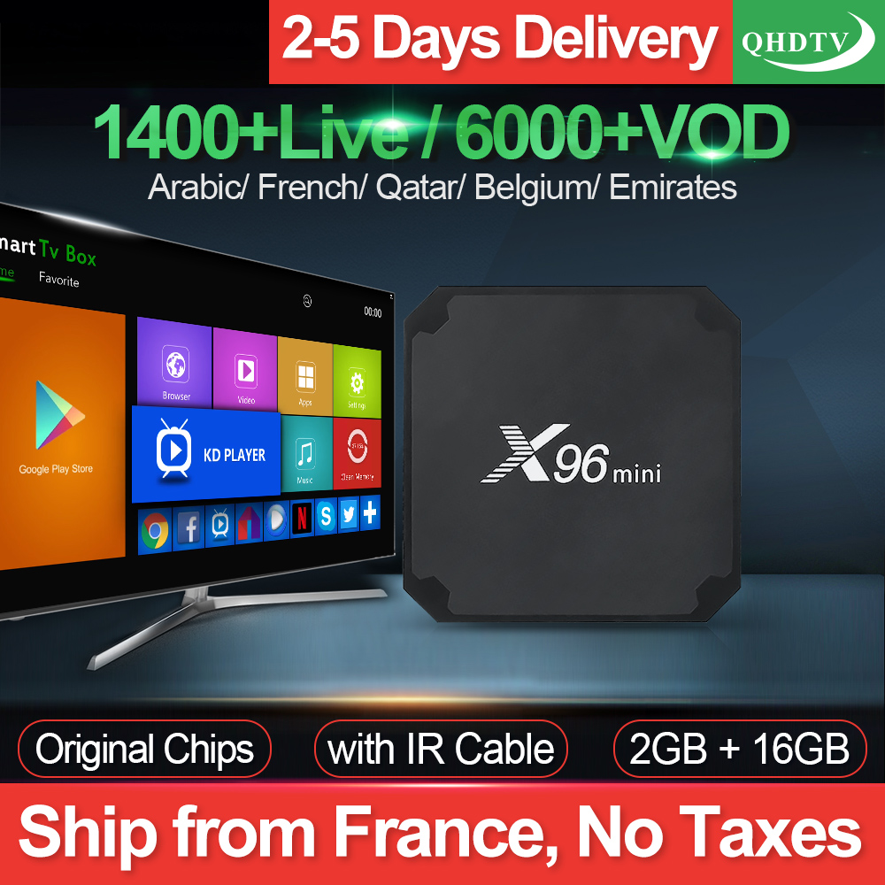 X96 mini IPTV France Box 2G 16G S905W Android 7.1 QHDTV 1 an IPTV abonnement X96mini IPTV arabe néerlandais belgique France IP TV