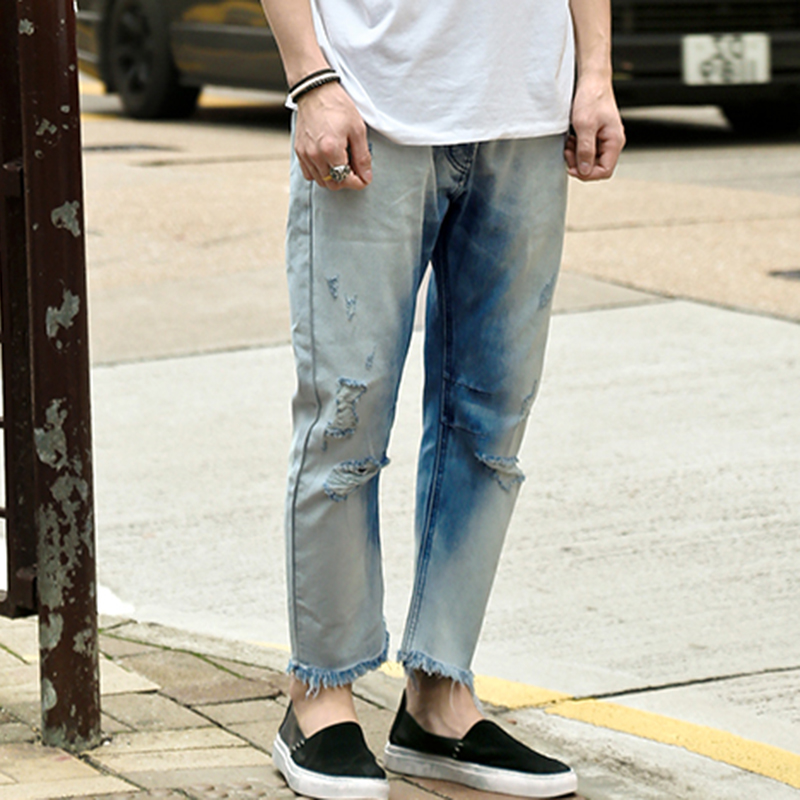2017 Men Spring Washed Do Old Jeans Men's Broken High Quality Jeans Men's England Style Personality Pants Casual Denim Pants Nourishing The Kidneys Relieving Rheumatism