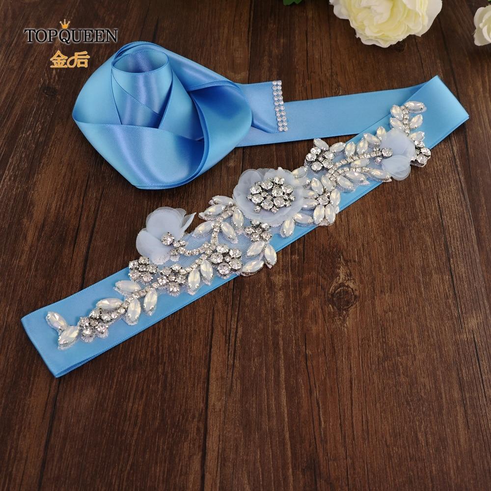 TOPQUEEN S419-B Light Blue Dress Sash Purple Flower Belt Purple Rhinestone Belt Sash For Dress Navy Bridal Satin Wedding Gown
