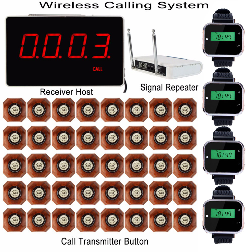 все цены на Wireless Waiter Calling System Receiver Host + 4pcs Watch Receiver + Signal Repeater + 40pcs Call Transmitter Button Pager F3293