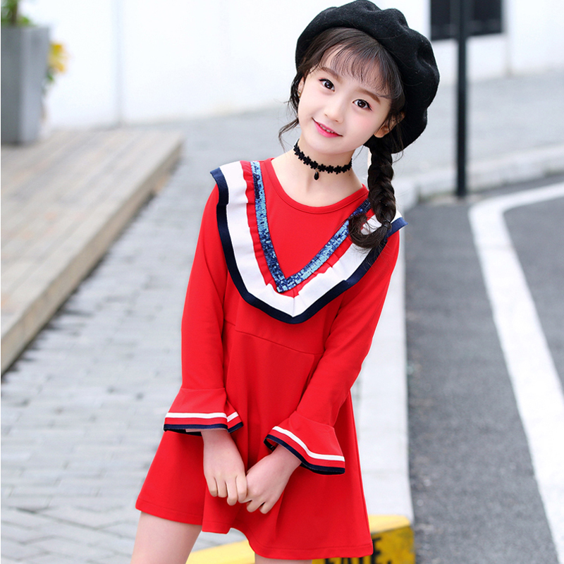 SPSHOW 2018 spring girl dress long-sleeved round neck knitted children's dress children's beads mosaic dress sishot women casual sheath dress 2018 spring pink knitted fabrics v neck date red long sleeve mid calf bodycon lace up dress