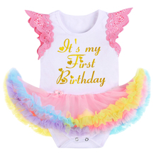 Fashion Newborn Baby Girls Clothes for Cake Smash Flutter Sleeve Letter Ruffles Romper Dress Cute Girl Baby 1st Birthday Clothes