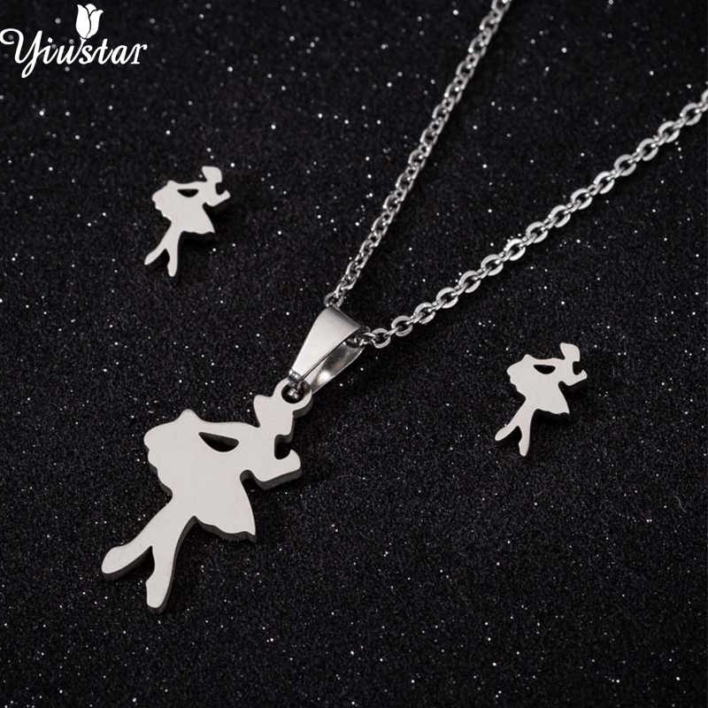 Yiustar Stainless Steel Cute Mini Ballet Necklace for Women Girls Kids Birthday Gift Romantic Dancer Earrings Jewelry Set