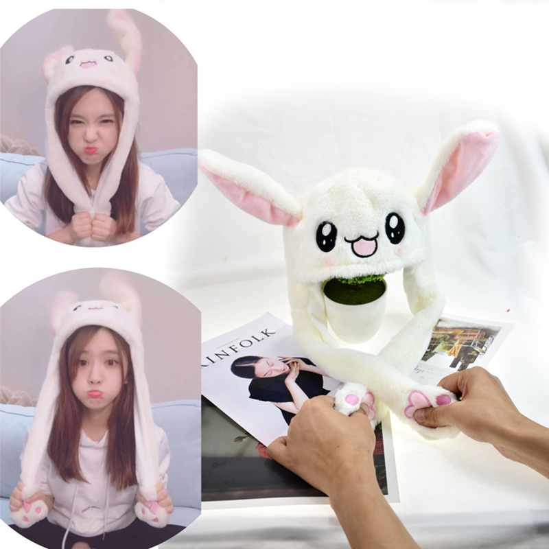 Fast Deliver M Mism Girl Rabbit Ears Funny Hat Lovely Moving Ears Hat Women&children Soft Excellent Gift Party Festival Hair Accessories Apparel Accessories Girl's Hats