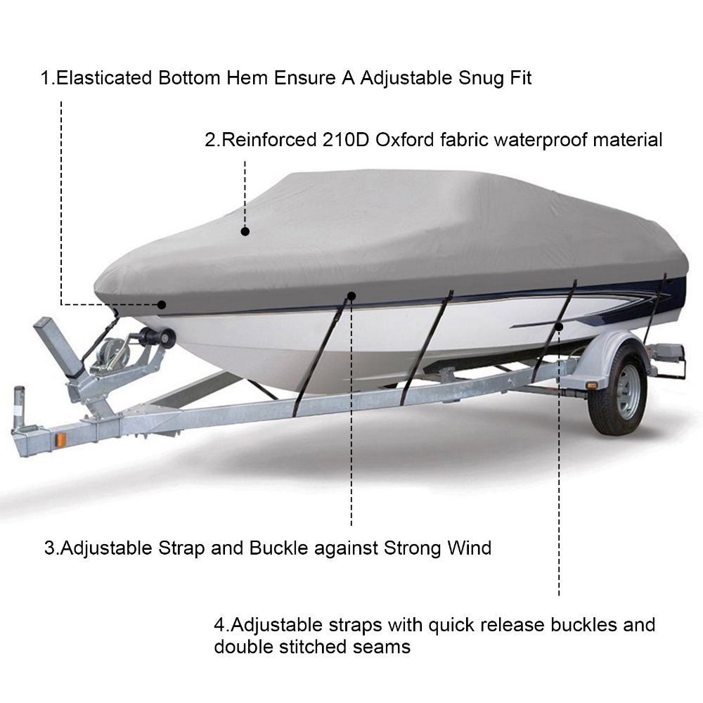 14 19ft Trailerable 210D Boat Cover Waterproof Grey Fish Ski V Hull Sunproof UV Protector Speedboat Boat Mooring Cover in Boat Cover from Automobiles Motorcycles