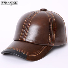 XdanqinX New Autumn Winter Womens Genuine Leather Hat Warm Baseball Cap Plus Velvet Cowhide Tongue Caps For Men Dad