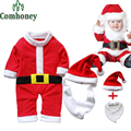 3Pcs Christmas Rompers Santa Claus Clothes Set Long Sleeve Newborn Boys Girls Jumpsuit Baby Body suits Infant Long Overalls