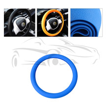 Car Auto Leather Texture Soft Silicone Steering Wheel Cover 36cm 37cm 38cm 39cm 40cm Blue For VW For Audi For Ford For Honda