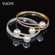 Fashion Imitation Pearl Crystal Bracelet Ladies Gold and Silver Bracelet 1/ 2 Row Rhinestone Pearl Bracelet Pulseras Mujer Gift(China)