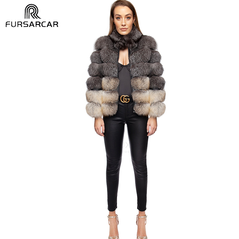 FURSARCAR Natural Waistcoat Real Silver Fox Fur Coat For Women New Detachable Thick Genuine Fox Fur Female Long Real Fur Jacket