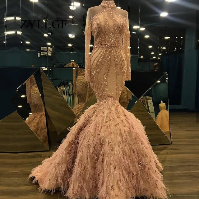 ZYLLGF Feather Mother Dress Mermaid High Neck Beaded Wedding Party Gowns 2019 Abendkleider Long Dresses Abiye Robe Longue RS132