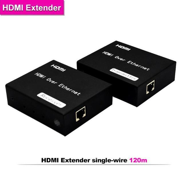 5pcs 120m HDMI Extender over Cat5e/6 Ethernet RJ45 Cable TCP/IP standard IR remote control support HDTV 1080P