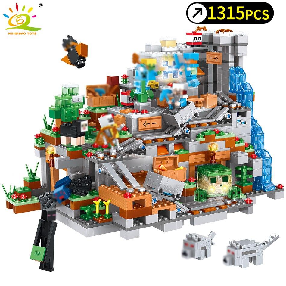 1315 piezas en mi mundo mecanismo cueva edificio bloques Compatible Legoed Minecrafted animales Alex figuras de acción de ladrillo juguetes para los niños