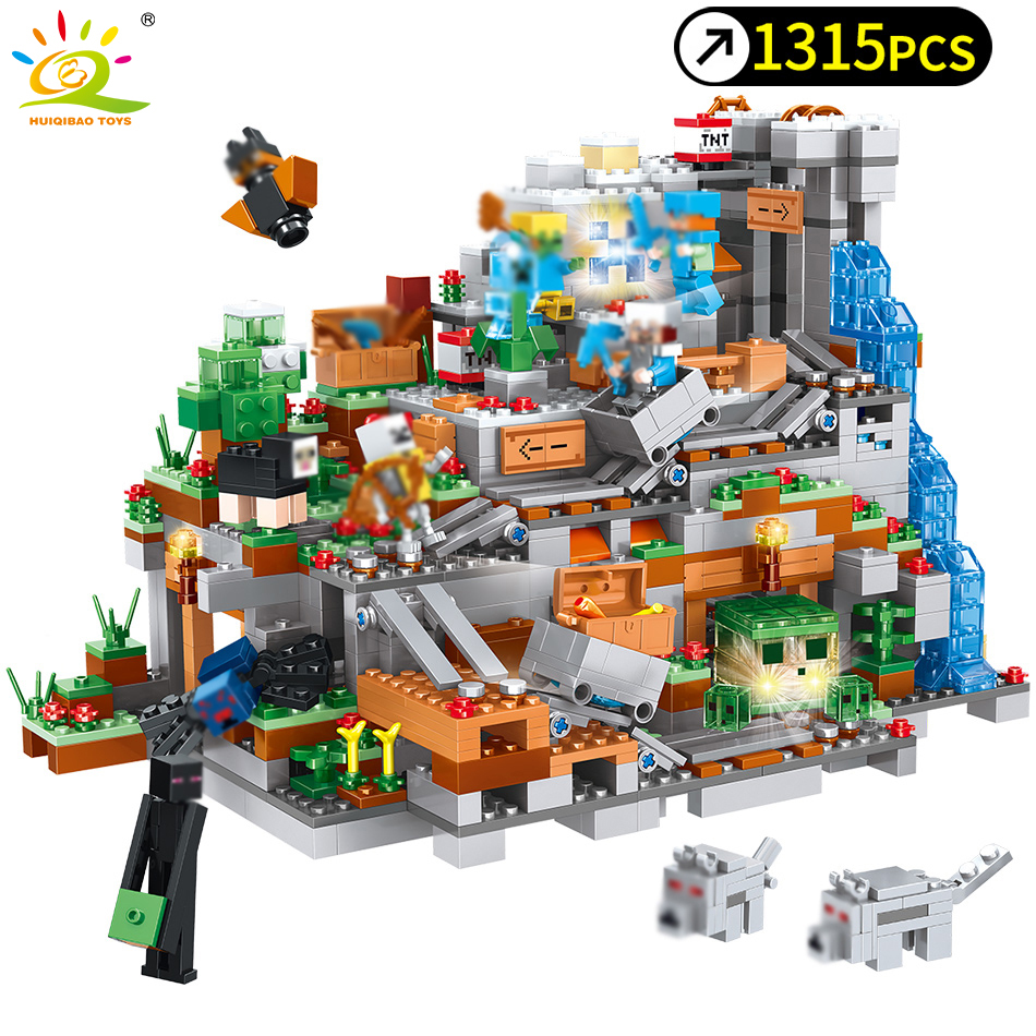 1315pcs My World Mechanism Cave Building Blocks Compatible Legoed Minecrafted Aminal Alex Action Figures Brick Toys