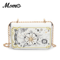 MSMO 2017 Autumn Black White Tarot Clutch Embroidery Cross Bag Fashion Chain Shoulder Bag High Quality