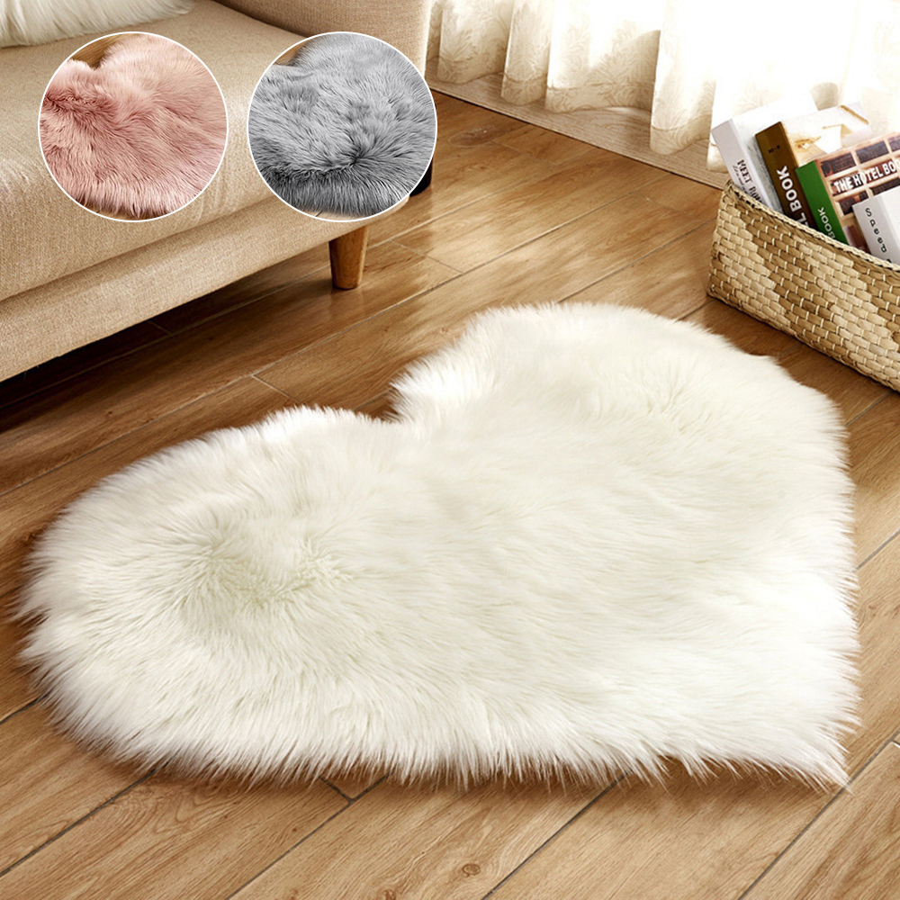 Heart Shaped Faux Fur Rugs And Carpets For Home Living