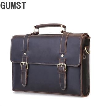 GUMST New Fashion cowhide male commercial briefcase Laptop briefcase leisure Large Capacity Genuine leather men briefcase