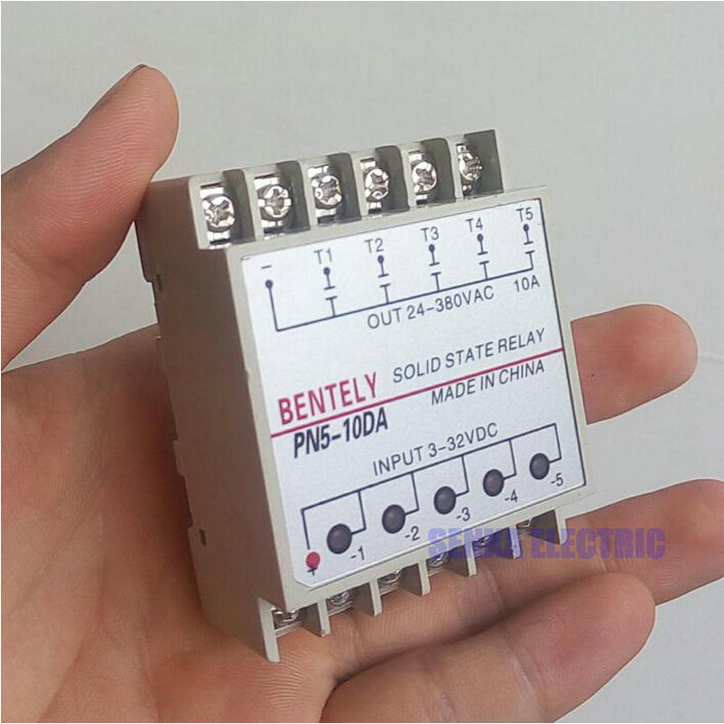 5 Channels 10DA Din Rail Mounting SSR Quintuplicate Five Input 3~32VDC Output 24~380VAC DC Solid State Relay