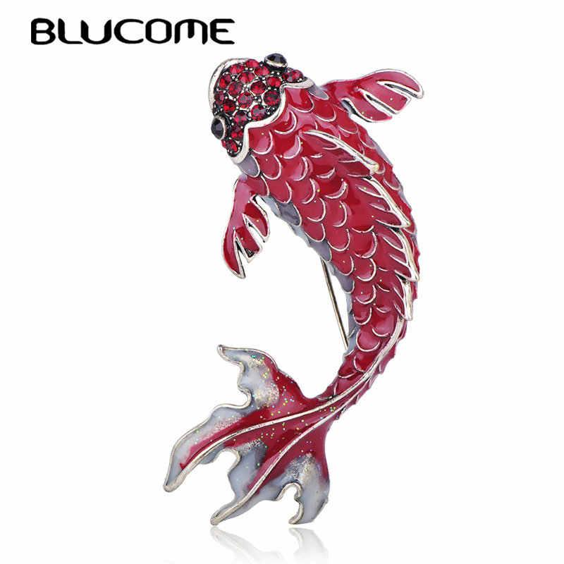Blucome vermelho vívido brocado peixe forma grandes broches esmalte jóias feminino meninas festa banquete saco roupas cachecol acessórios pinos