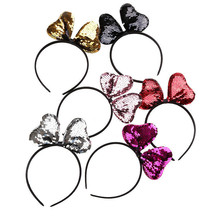 2019 New Bling Hair Accessories Girl Women Bow Knot Headband Sequins Paillette Hairband Family Party Headwear Shinny Hair Bands(China)
